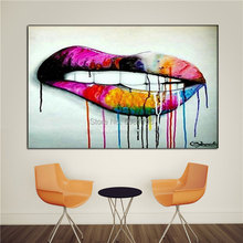 HAND PAINTED ideas Abstract Oil Painting design mouth Wall Art street Graffiti Pictures Home Decor Decorative Fine Pop