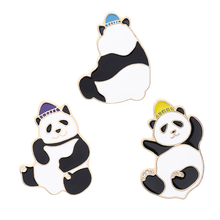 Animal Cartoon Pin Cute Grizzly Panda Ice denim Enamel Pins Kawaii Lapel Brooches badges Fashion Gifts