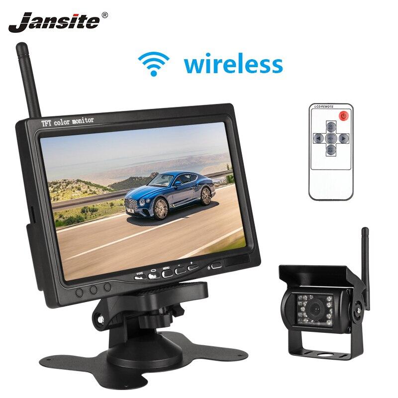 Jansite 7 pouces voiture moniteur TFT LCD voiture vue arrière moniteur Parking filaire sans fil système de recul pour caméra de sauvegarde support DVD VCD