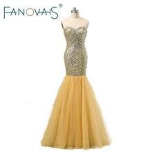 2017 Luxury Gold Evening Dresses Full beads Mermaid Evening Gowns Vintage Evening Party Wear Prom Party Dress vestido de festa