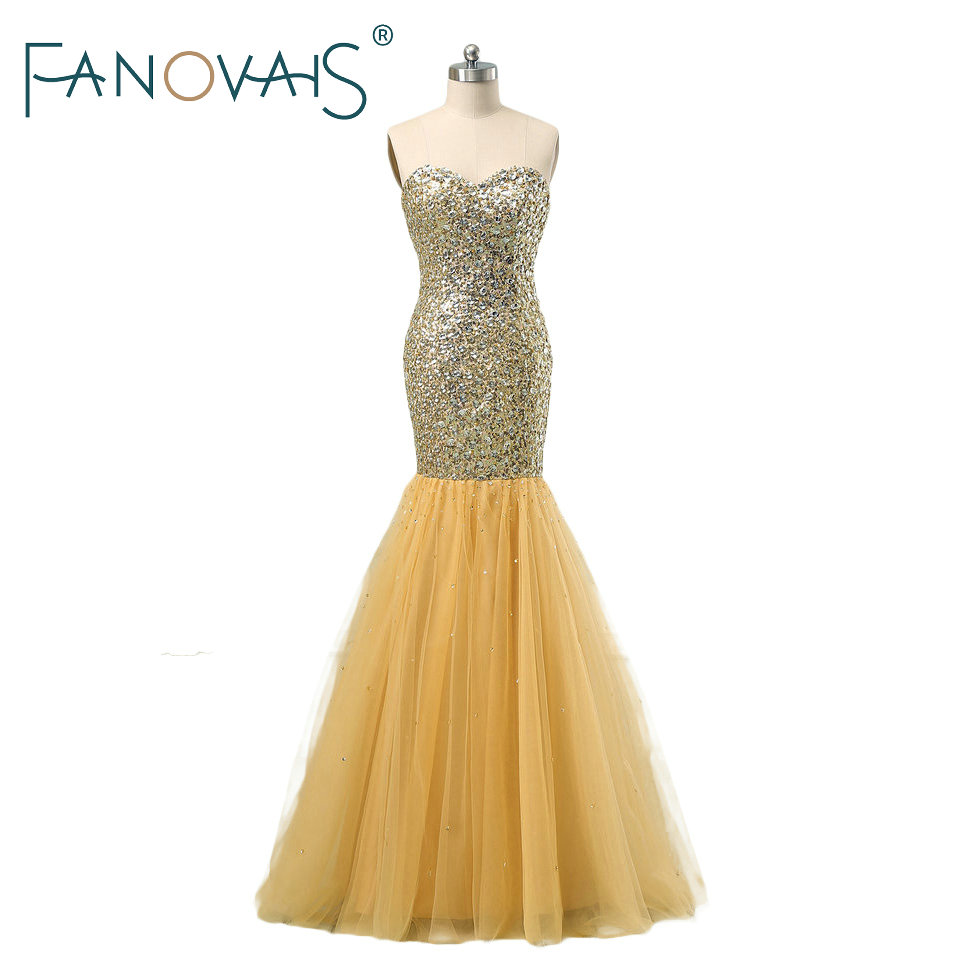 2019 Luxury Gold Evening Dresses Full beads Mermaid Evening Gowns Vintage Evening Party Wear Prom Party Dress vestido de festa