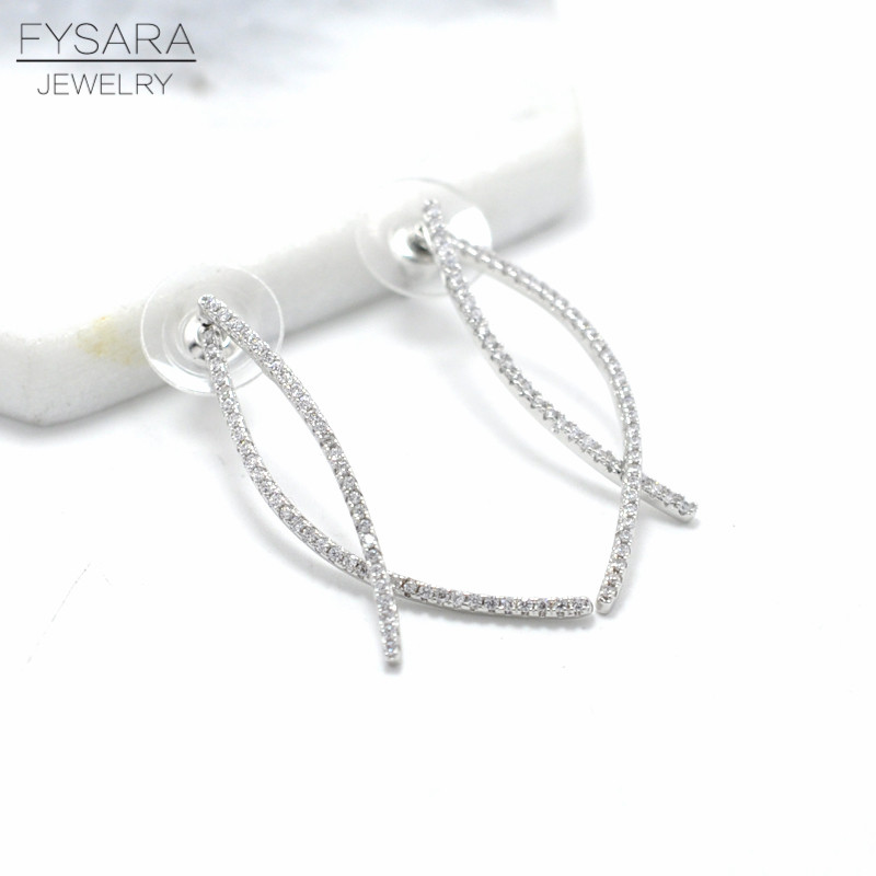 Charm Geometric Full CZ Crystals Drop Earrings for Women Silver Color Line Intersect Long Earrings Ear Fashion Wedding Jewelry
