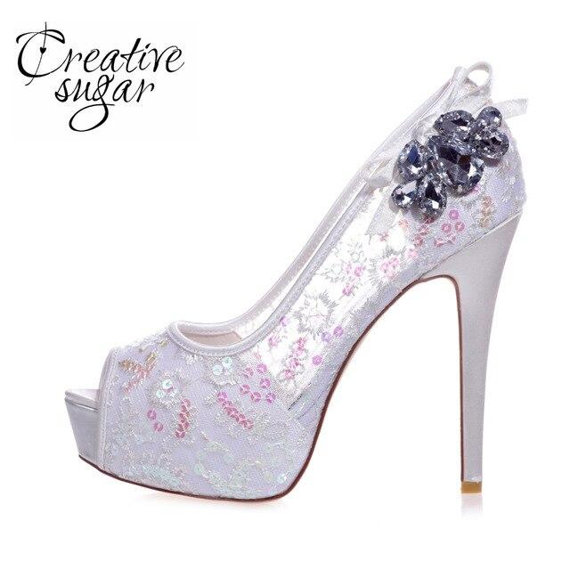a73651ca60a1 Creativesugar high heels see through lace sequins platform peep toe woman  night club party evening pumps sky blue red crystal