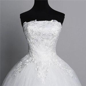 Image 5 - Vraie Photo Simple dentelle fleur sans bretelles blanc cassé mode Sexy robes de mariée pour les mariées grande taille vestido de noiva