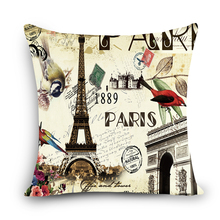 High Quality Thick Linen Sofa Decorative Linen Vintage Bell Tower Cushion Cover Throw Pillows Case Waist Pillow MYJG4