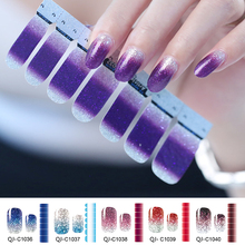 цена на 1 Sheet Nail Vinyls Water Decals Sticker Gradient Color Glitter Powder Stickers Nail Wraps DIY Full Cover Nail Art Decorations