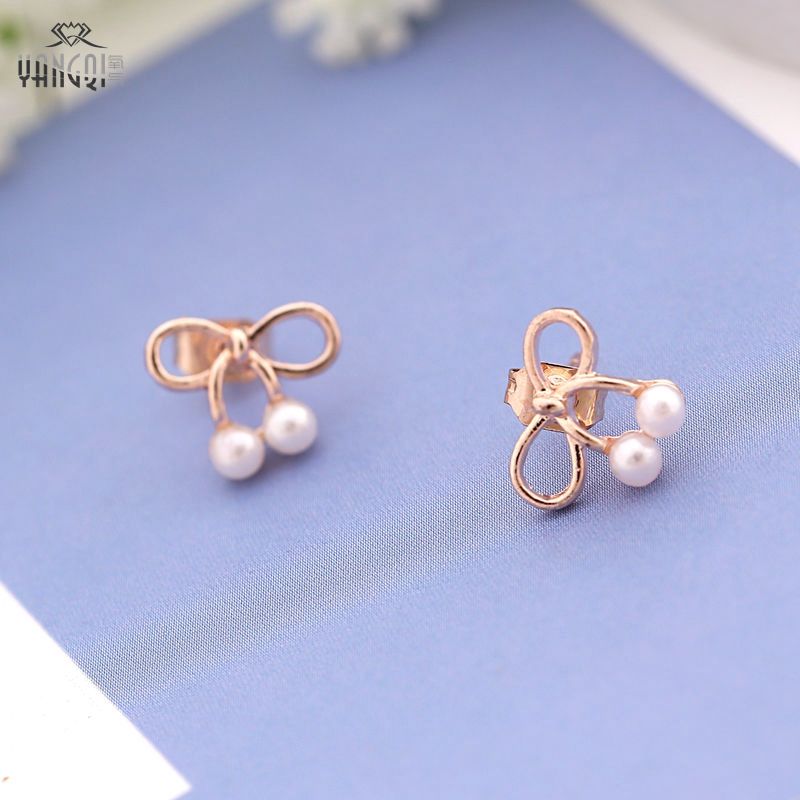 Simple Earrings Christmas-Gifts Office-Style Bowknot Gold-Color Cherry Girls Boucle D'oreille