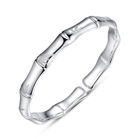 Solid Silver Bangle Women Silver Twinkle Bamboo Bangle