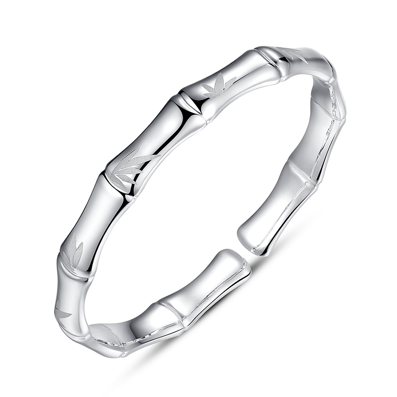 Solid Silver Bangle Women Silver Twinkle Bamboo Bangle Solid Silver Bangle Women Silver Twinkle Bamboo Bangle
