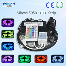 5M/Roll 60LED/m RGB LED Strip SMD5050 24Key IR Remote Controller 12V 6A Power Adapter Flexible Led Light Home Decoration Lamps
