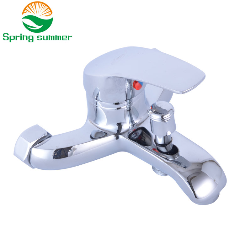 SPRING SUMMER Complete Silver Bathroom Shower Faucets Bathtub Faucet Mixer Tap
