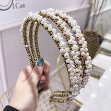 Korea Pearl Diamond Beading Hairbands Hair Accessories Crystal Hair Bows Flower Crown Headbands For Women 4 korea pearl shining bow hairbands hair accessories crystal hair bows flower crown headbands for women 4
