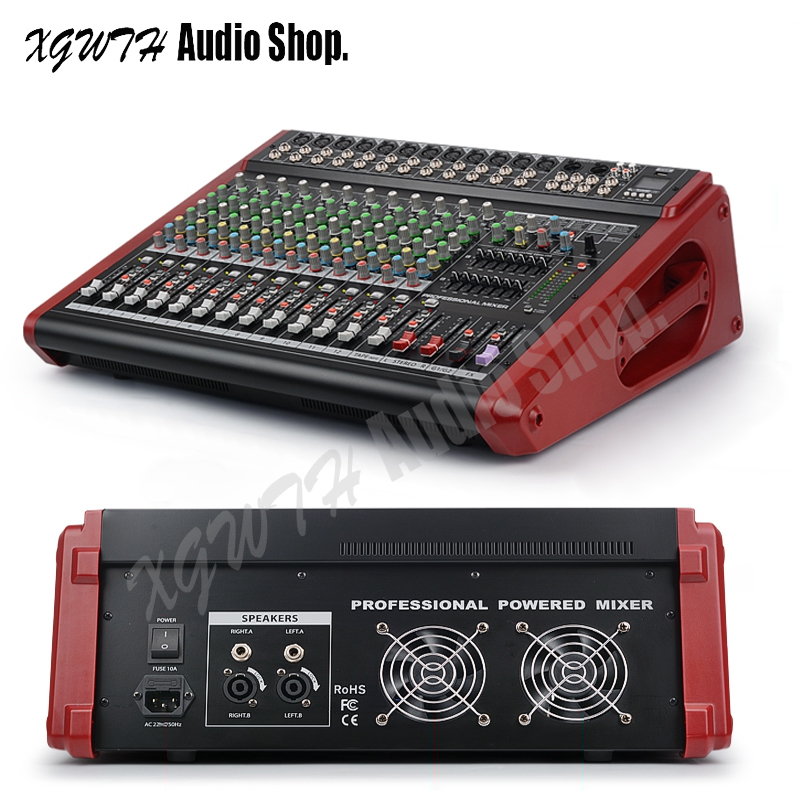 12 Kanal Verstärker Mixer Studio Audio Mischen Konsole High Power Xgwth Band Mit + 48 V Phantom Power Bluetooth Usb Beruf