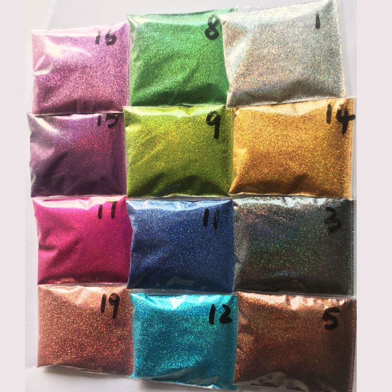 Rikonka 10G Holographic Glitter Powder Shining Sugar Silver Nail Fine Glitter Dust Nail Art Decorations Manicure 21 Colors 0.2mm