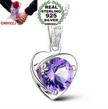 OMHXZJ Wholesale jewelry heart woman Natural Amethyst kpop star 925 sterling silver NO Chain Necklace pendant Charms PE04