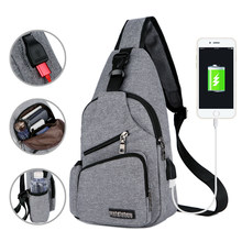 Chest Bag Men With Side Bottle Pocket Canvas Sling Bag Shoulder (USB Charge Interface) Satchel Large Crossbody Charing Bag 2019(China)