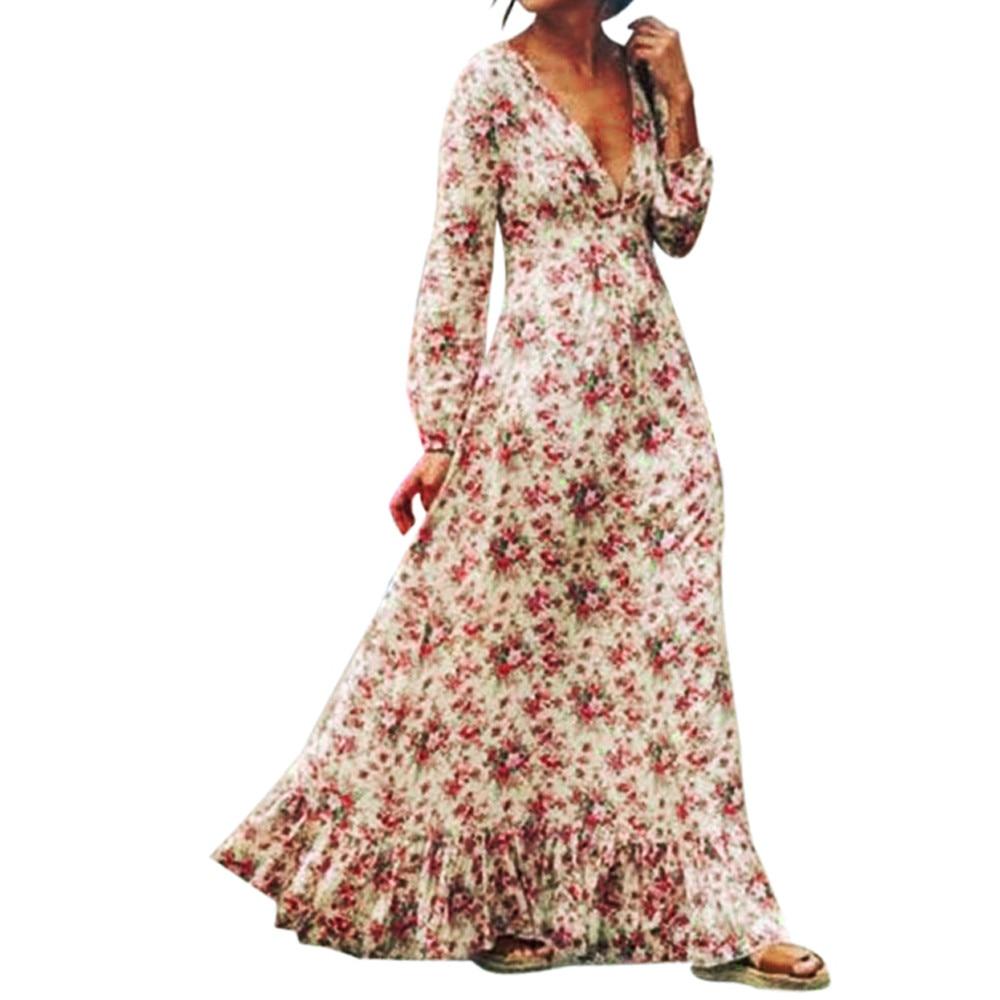 2018 New Women Boho Maxi Long Dress Sexy V Neck Casual Loose Retro Floral Print Long Sleeve Party Beach Dress Vestidos Plus Size