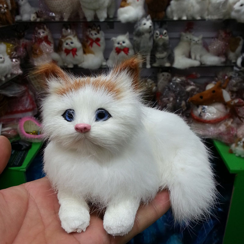 Genuine Leather Artificial Animal Simulation Cat Home Ornaments Lying Cat toys For Children's Birthday Gift StZhou MS20170015 large 24x24 cm simulation white cat with yellow head cat model lifelike big head squatting cat model decoration t187