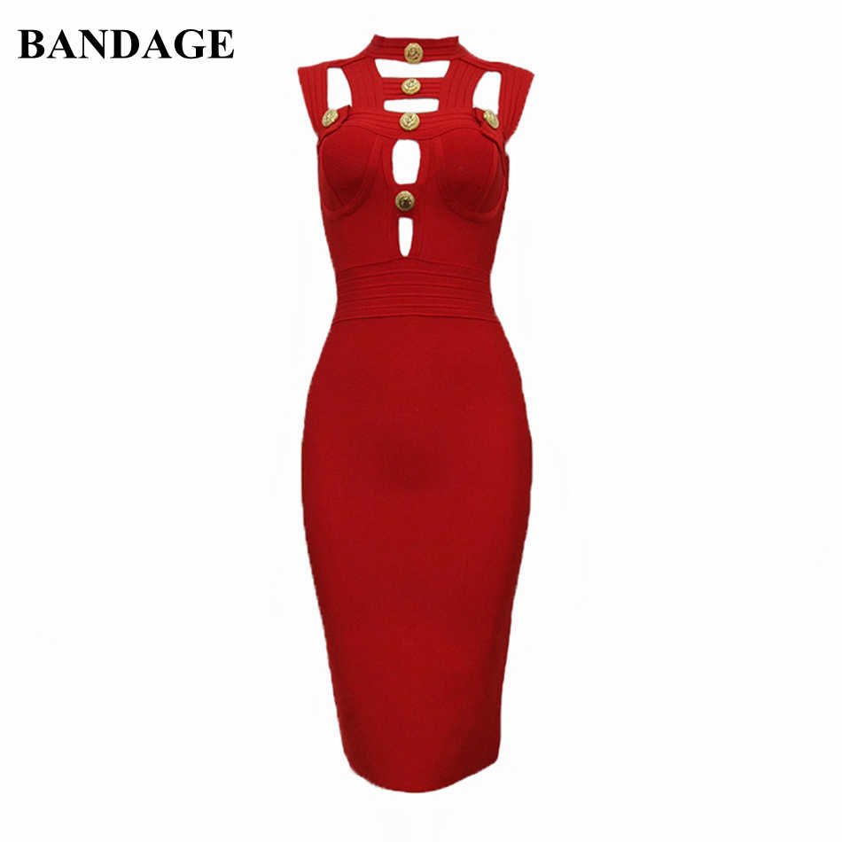 BANDAGE Sexy Hollow Out Zwart Rood Zomer Bandage Jurk Celebrity Party Designer Jurk Knop Detail Bodycon Vestidos Nieuwe Stijl