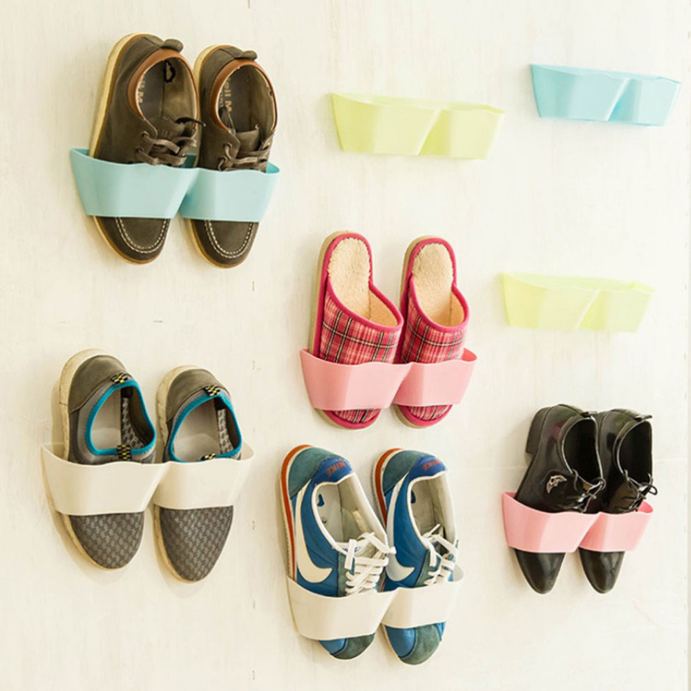 1pc Multipurpose Wall Mounted Storage Shelf Shoe Rack Vertical Holder Living Room Bathroom In Shelves From Home