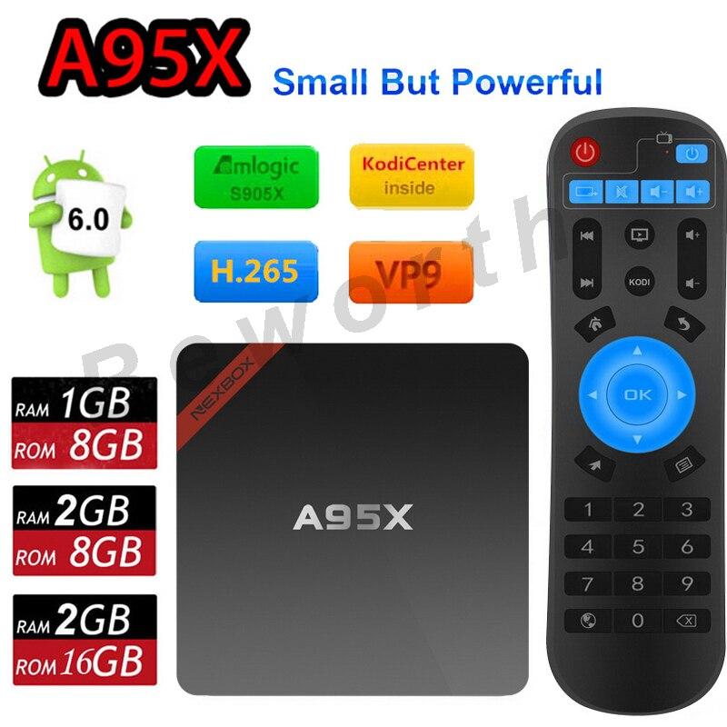 Nexbox A95X Android 6.0 TV Box S905X Amlogic Quad Core 2GB/16GB 2G/8G 1G/8G Smart Mini PC Kodi 16.0 Wifi 4K H.265 Media Player 2016 android tv box t10 smart mini pc amlogic s805 quad core 1g 8g 4k media player 3d home movie wifi kodi 16 0 fully loaded