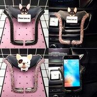 De dibujos animados perro de diamantes de imitación de cristal soporte Universal de teléfono para coche montaje de ventilación de aire para Teléfono Celular soporte para iPhone soporte de coche