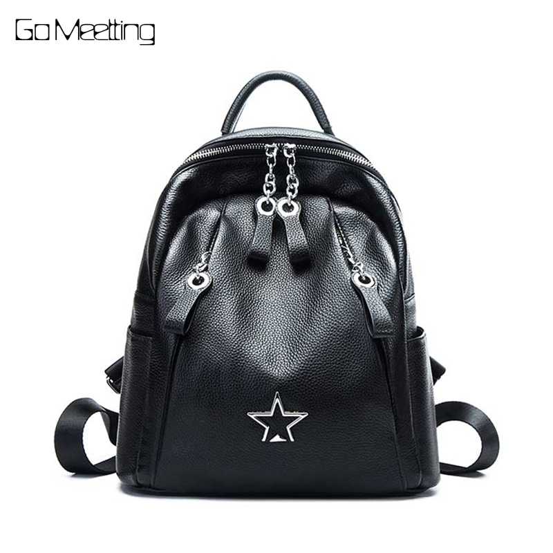 New High Quality Women Backpack 100% Genuine Leather Travel Bag Backpacks Simple Schoolbag For Girls Fashion Female Knapsack цена