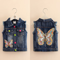 Spring Autumn Amazing Butterfly Sequined Denim Girls Vests W/holes Baby Kids Clothes Ripped Children Outerwear 2017 T1/7392DBO