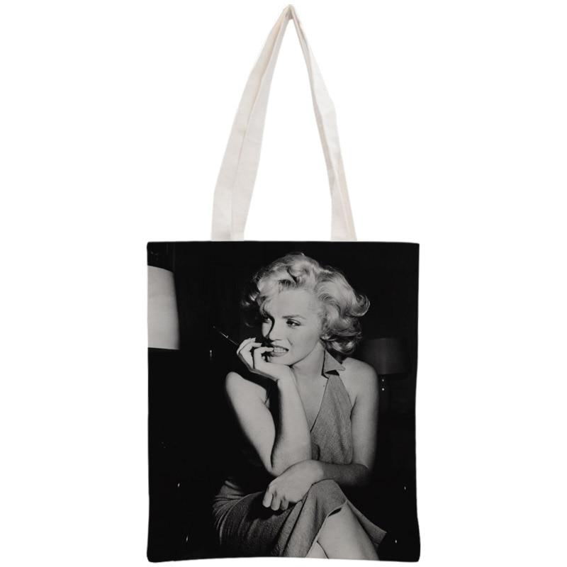 Custom Marilyn Monroe Tote Bag Reusable Handbag Women Shoulder Foldable Canvas Shopping Bags Customize Your Image