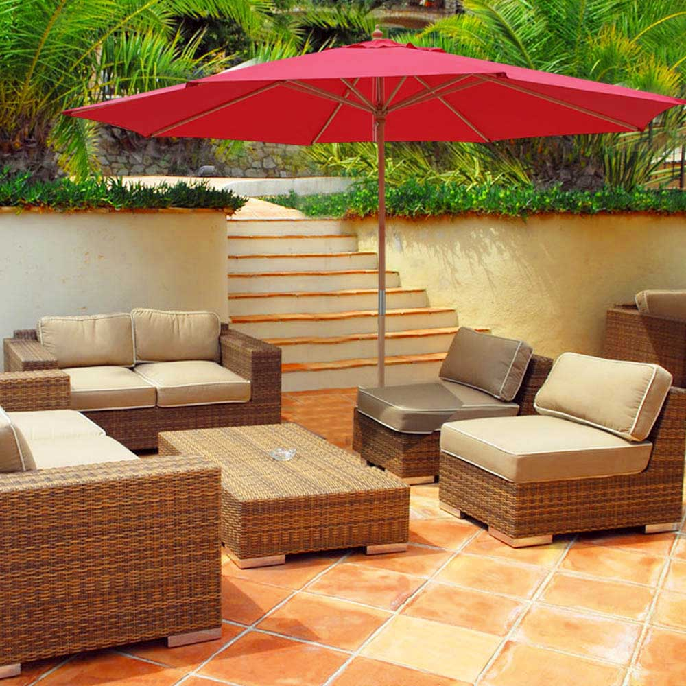 ... 13ft German Beech Wood Wooden Outdoor Patio Umbrella Yard Cafe Store  Pool Red US ...