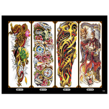 4pcs Body Art Temporary Tattoo Colorful Animals Watercolor Painting Drawing Decal Waterproof Full Arm Big Large Fake Tattoos
