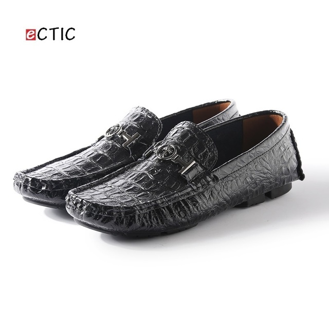 Luxury Brand Men Loafers Crocodile Skin Genuine Leather Men Driving Shoes  Good Quality US Soft Comfortable