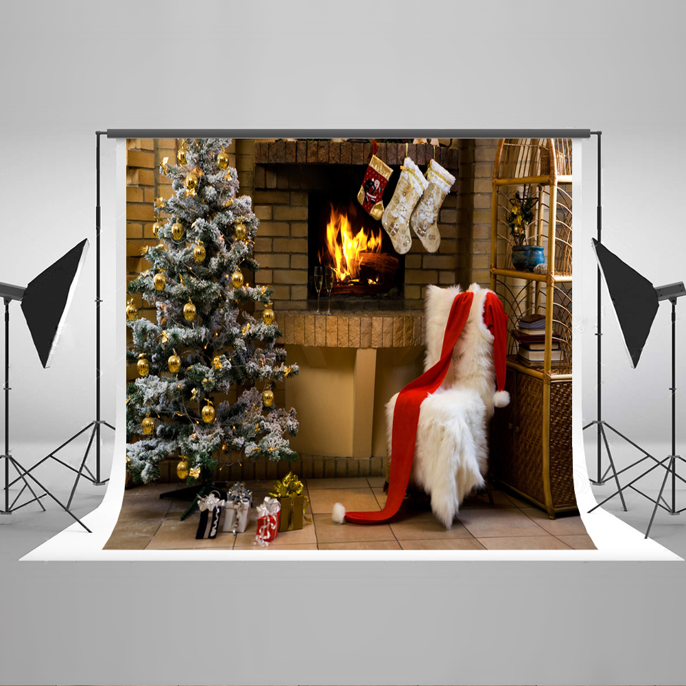 Kate 7x5  White Christmas Tree Chair Fireplace Backdrop for Photography Cotton Seamless Sock Background for X-mas Fond Studio