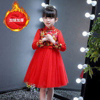 winter warm chinese girl dresses new year plus thick comunion dresses prom evening gowns vestidos de comunion age 4 11 years old