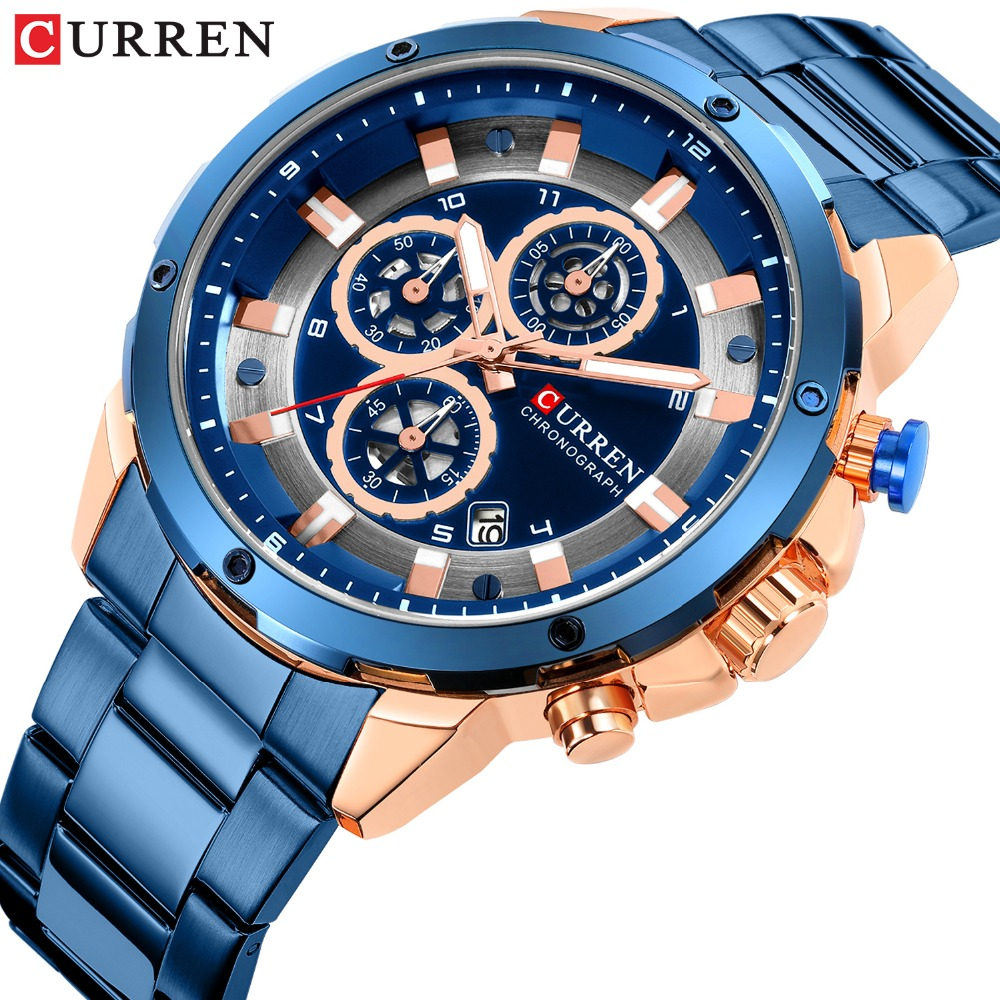 Men's Luxury Brand CURREN New Fashion Casual Sports Watches Mens Quartz Stainless Steel Band Wristwatch Male Clock Reloj Hombres
