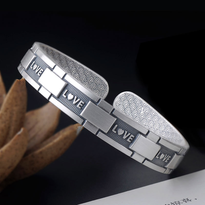 S999 Sterling Silver Cuff Bangle Bracelet Dollar Letter Bracelet Female Retro Open Silver Bracelet for Girlfriend