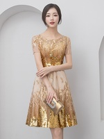 Gold Party Evening Short Cheongsam Retro Sexy Slim Dress Marriage Gown Chinese Style Wedding Qipao Fashion Lady Clothes Vestido