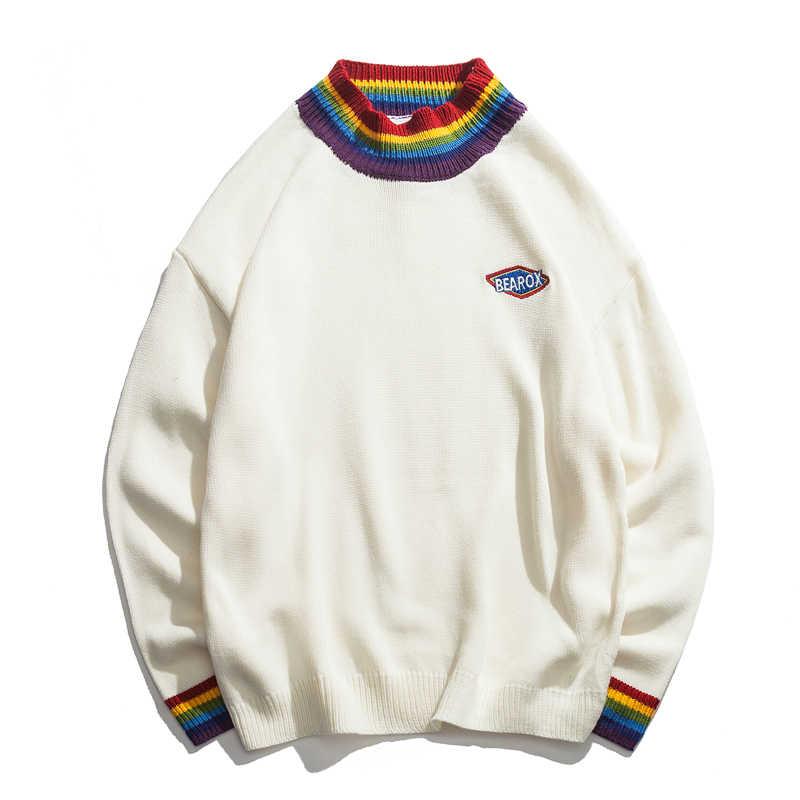 Jersey con cuello de arcoíris de color oscuro, suéter suelto de invierno 2019 para hombre, sudaderas de calle altas en negro y blanco