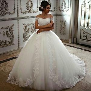 Image 1 - Saudi Arabian Bridal Dresses Floral Lace Wedding Dresses Off the Shoulder Robe De Mariage Hand Beads Sequined Vestido De Novia