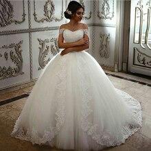 Saudi Arabischen Braut Kleider Floral Spitze Hochzeit Kleider Weg Von der Schulter Robe De Mariage Hand Perlen Pailletten Vestido De Novia