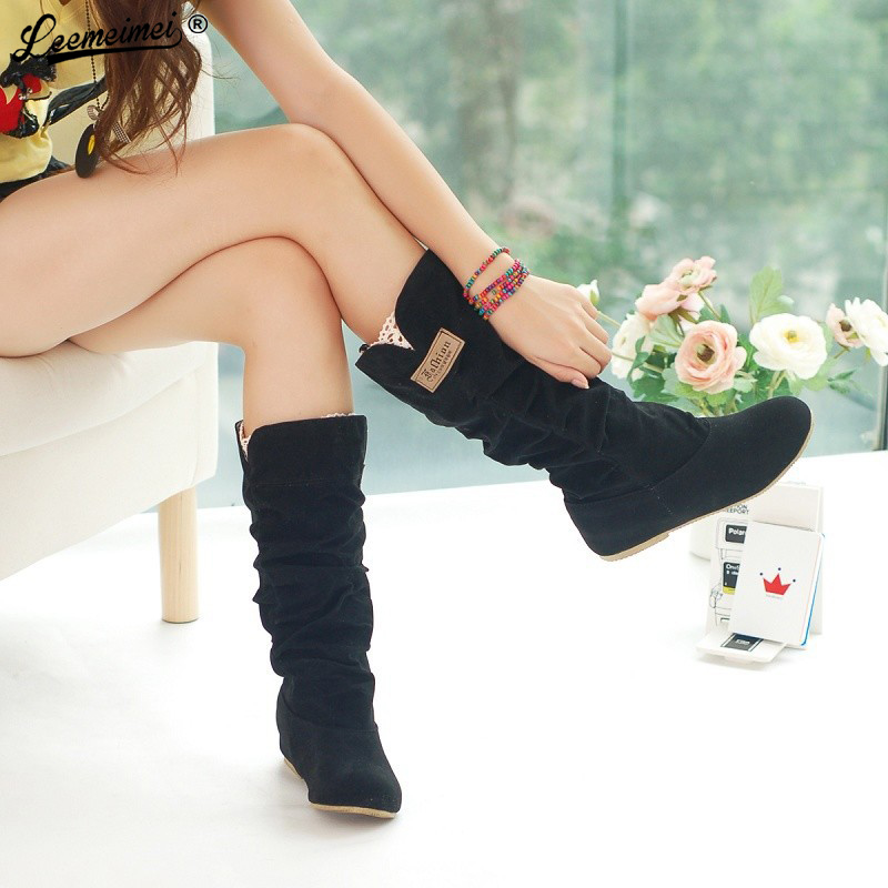 2016 Plus Size 35-42 Spring/Autumn hidden wedge Flock boots Fashion Flat Mid-calf women boots casual shoes sweet lace snow boots 2018 new superstar flock runway peep toe slip on fashion brand shoes wedges autumn spring lazy zipper mid calf boots for women