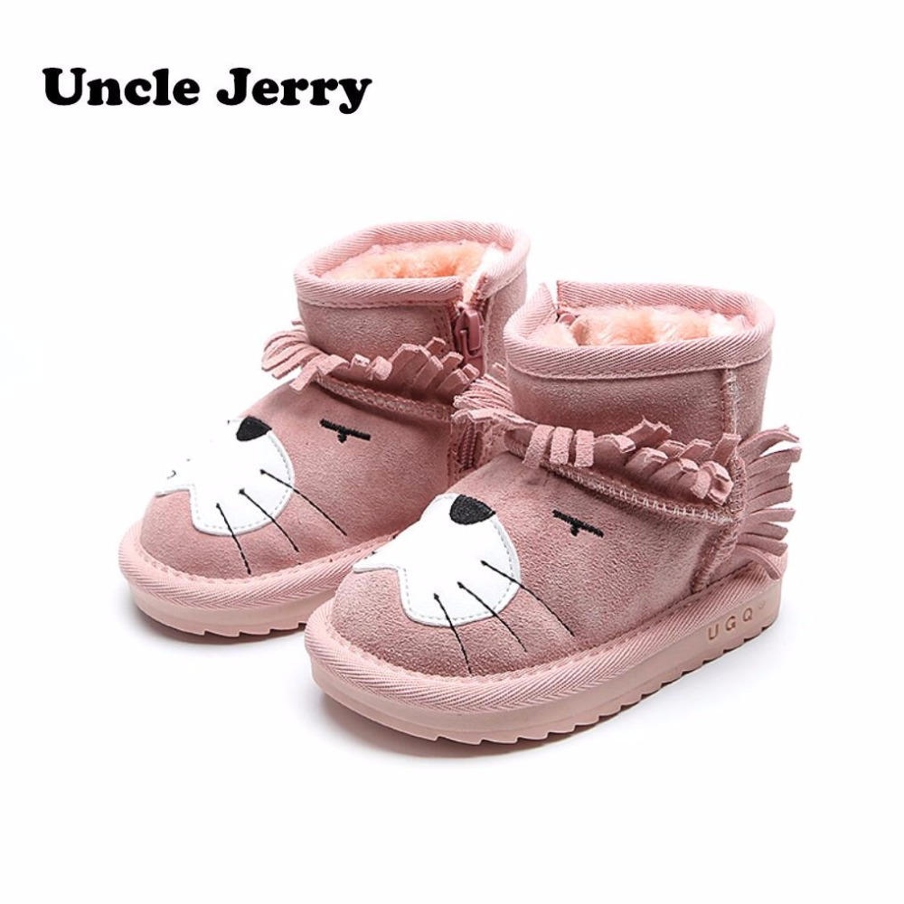 UncleJerry Genuine Leather Little Children winter shoes boys girls toddler Snow boots for little kids with warm plush baby boots babyfeet 2017 winter fashion warm plush high top genuine cow leather children ankle girls snow boots kids boys shoes sneakers
