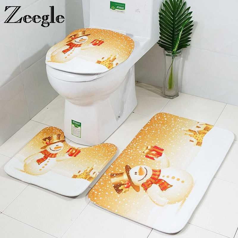 Zeegle dekoracje świąteczne mata do łazienki 3 szt. Dywan łazienkowy antypoślizgowa mata do prysznica dywanik kąpielowy pokrowiec na klapę sedesu chłonna mata kąpielowa