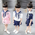 2016 Spring Children Clothing Set Girls Suit Track Suit Sailor Navy  Suit Girls Long Sleeve T Shirts Tops + Girls Skirts 3-8Y