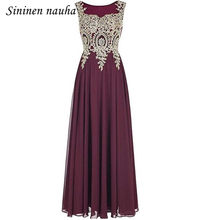 b4d325b82093e Gold Appliques Long Evening Dresses Prom Formal Dress for Women A Line  Chiffon Plus Size Vestidos