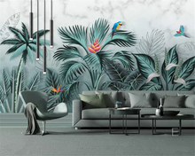 beibehang Customized personality papel de parede wall paper hand drawn tropical rainforest stereo plant HD background wallpaper