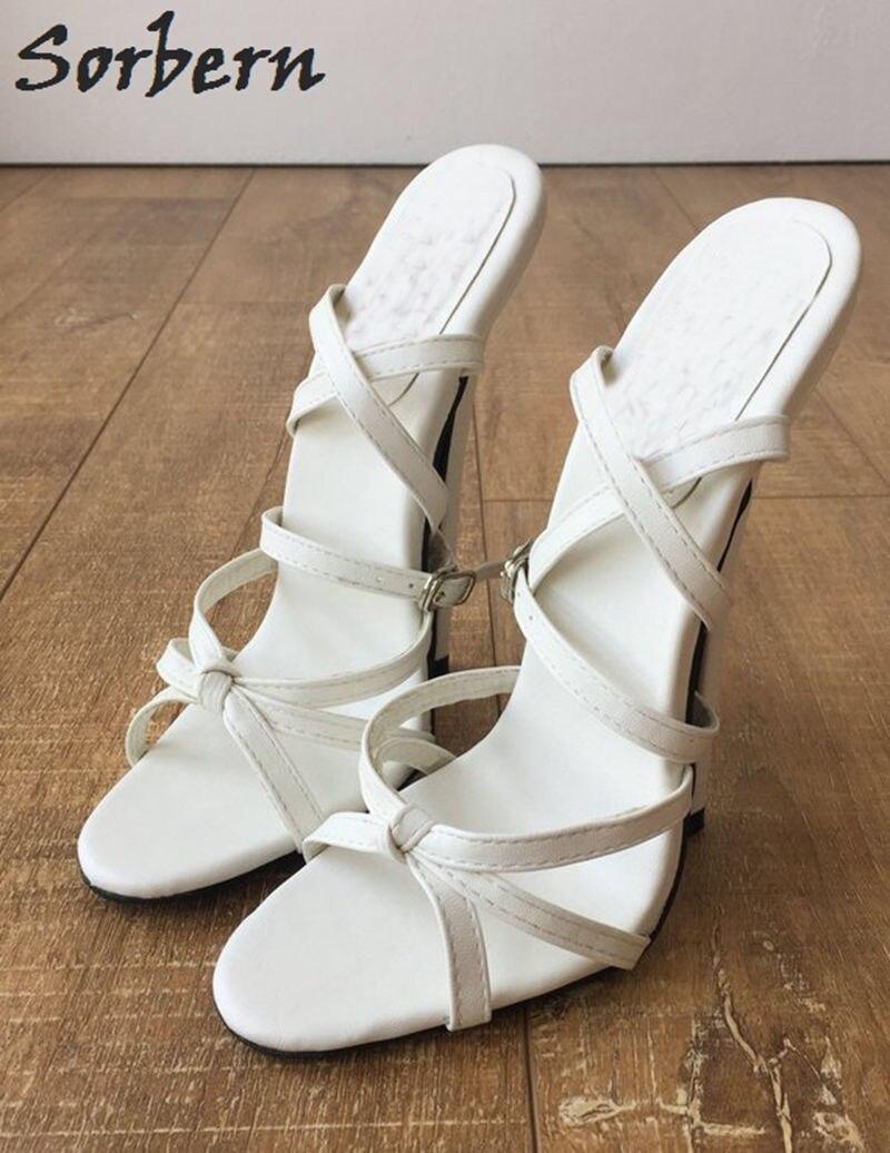 Sorbern Sexy Branco Slingbacks Sandálias Mulheres Cruz Amarrada Sapatos Espiga Sapatos De Salto Alto Sapatos Da Moda Tamanho Sapatos Sandálias Estiletes 12 - 5