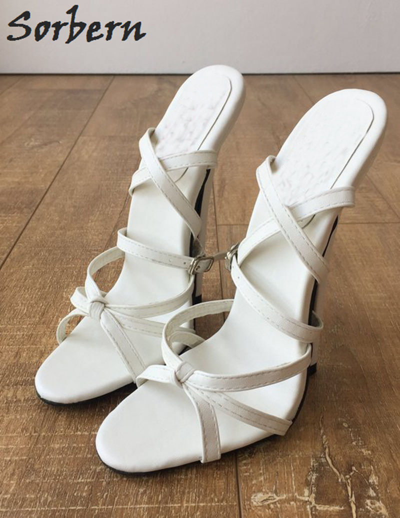 Sorbern Sexy Weiß Pumps Sandalen Frauen Kreuz Gebunden Schuhe Spike High Heels Trendy Schuhe Größe 12 Schuhe Stilettos Sandalen - 5