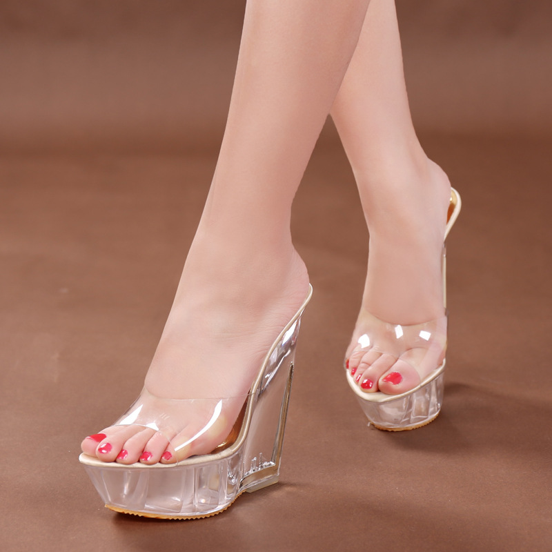 Platform Sandals 14cm High Heel Peep Toe Summer Women Transparent Shoese  Slip On Wedge Clear Heels Sexy Lady Platform Sandals-in High Heels from  Shoes on ...
