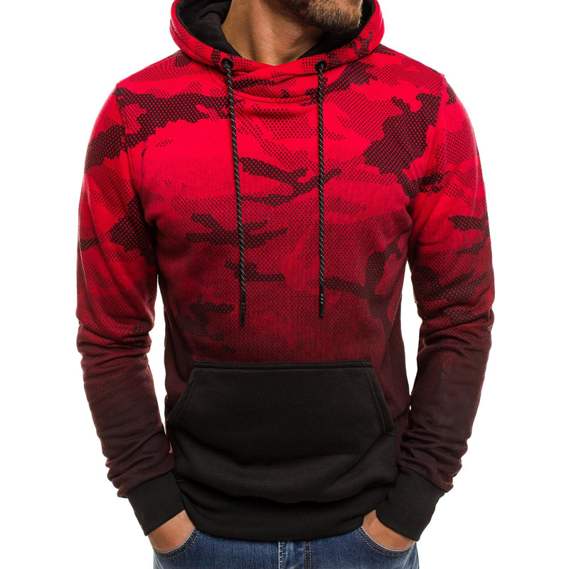2019 Autumn Camouflage Printed Hoodies Men Tracksuits Fitness Sportwear Hooded Sweatshirts Casual Male Pullover Dropshipping